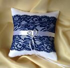WEDDING RING PILLOW/IVORY/WHITE&NAVY LACE&DOUBLE HEARTS/ 19x19cm/7.5''x7.5