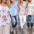 New Womens Summer Floral Short Sleeve T Shirt Ladies Fashion Loose Blouse Tops