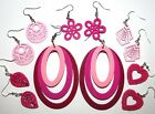 SELECTION OF PINK WOOD EARRINGS HAND MADE FASHION DESIGN ART DECO 70'S POP HEART