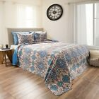 Abstractly Printed Damask Pattern Quilted Blanket Bedspread Twin Queen King image