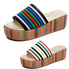 Fashion Women Striped Ladies Fringe Slide Slippers Summer Platform Shoes Size