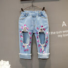 girls jeans blue Sequins ripped denim jeans children casual trousers kids pants