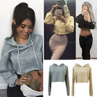 New Womens Long Sleeve Crop Top Pullover Hooded Sweatshirt Sports Cropped Hoodie