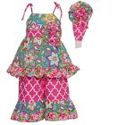 Sophias Style Exclusive Girls Ava Pink Turquoise Flower Ruffle 3pc Outfit 2T-6X