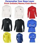 Personalised Compression Armour Baselayer Top Thermal Skins Shirt BLACK