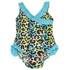 2B Real Baby Girls Turquoise Ruffle Leopard Pattern One Piece Swimsuit 12-24M
