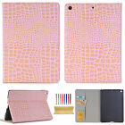"Crocodile PU Leather Card Stand Folio Case For iPad 9.7""2017/Pro 10.5""Wake/Sleep"