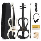 4/4 Maple Electric Violin Full Size with Ebony Fittings Cable Headphone & Case
