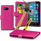Soft PU Leather Flip Wallet Case Cover, Pen & Glass For Nokia Lumia 820