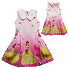 Kids Girl Princess Belle Beauty and Beast White Collar Party Skirt Dress Costume