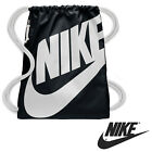 NEW Nike SWOOSH GYM BAG *BLACK* SPORTS MENS LADIES DRAWSTRING GOLF SHOULDER SACK