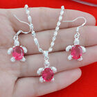 Jewelry Set 925 Silver Multicolor Topaz 24 Inches Necklace Pendant + Earrings