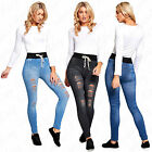 Womens Ladies Ripped High Jean Print Distressed Skinny Denim Pant Jeggings 8-14