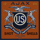Reproduced Vintage U.S. Ammo AJAX Shell Box Label on Graphic Canvas