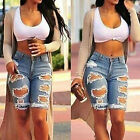 New Womens Lady Ripped Distressed Denim Knee Length Shorts Skinny Jeans Fashion