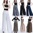 Women Chiffon Casual High Waist Solid Wide Long Pants Palazzo Trousers Party US