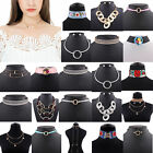 New Women Bib Fashion Crystal Pendant Statement Chain Chunky Choker Necklace