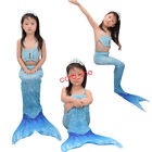 Kids Girls Mermaid Tail 3PS With Monofin Child Swimmable Swimsuit fancy dress