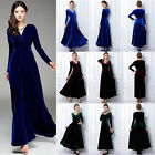 2017 Women Plus Size Velvet Long Sleeve Maxi Dress Evening Party Vintage Dress