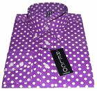 Purple Polka Dot Men's Shirt Classic Design - 100% Cotton  Relco sizes S - 3XL