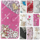 PU Leather Wallet Case Bling Protective Crystal Diamond Cover For Samsung Phones