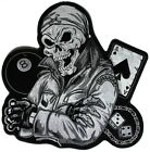 Embroidered Biker Guy Skull Large Back Patch In Grey