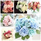 10 Heads Artificial Silk Rose Wedding Bridal Flower Bouquet Home Party Ornament