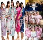 Women's Kimono Robe Plain Silk Satin Robes Bridal Wedding Bridesmaid Bride Gown*