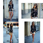 HOT Womens Long Sleeve Blouse Casual Shirt Dress Floral Décor Slim Fit Tops