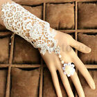 New Ladies Black White Lace Flower Retro Bracelet Ring Set Wedding Accessories