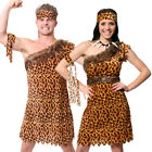 COUPLES PREHISTORIC FANCY DRESS CAVEMAN AND CAVEWOMAN COSTUME XS S M L XL XXL