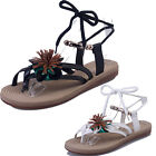 Women PU Strappy Flowers Retro Gladiator Ankle Bead Flat Roman Sandals Shoes