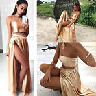 New Womens Strapless Sleeveless Crop Top Summer Evening Party Prom Long Skirt