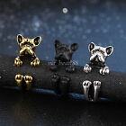 Lovely Bulldog Dog Puppy Dog Wrap Adjustable Open Ring Antique Alloy Jewelry New