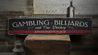 Gambling Billiards & Fine Whiskey - Rustic Distressed Wood Sign ENS1001651 $80.1 USD on eBay