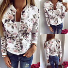 NEW Womens Ladies Biker Flower Floral Print Zipper Up Bomber Jacket Long Sleeve
