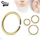 1x 10x 18G 20G 22G GOLD TITANIUM NOSE CLIP ON FAKE RING HOOP TRAGUS EAR HELIX