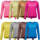 Ladies Womens Knitted Crochet Plain Jumper Soft Knit Crew Neck Baggy Sweater Top
