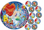 EDIBLE DISNEY ARIEL LITTLE MERMAID HAPPY BIRTHDAY CAKE CUPCAKE ICING TOPPERS