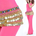 Women Belly Dance Velvet Hip Scarf W 338pcs Beads Coins Chain Decor Waist Belt