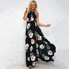 Damen Maxikleid Sommer Boho Geblümt Party Abendkleid Strandkleid Cocktailkleider