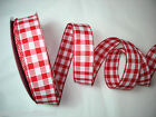 RED/WHITE GINGHAM CHECK  WIRED WIRE RIBBON 38MM WIDE 2M- 5M -10M