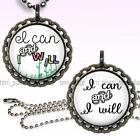 I Can & I Will Inspirational Children's Bottle Cap Necklace Chain Handcrafted