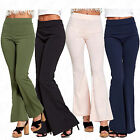 Women Ladies High Waist Bell Bottom Wide Leg Flared Casual Trouser Bootcut Pant