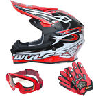 Wulfsport Sceptre Adult Motocross Helmet Off Road Red MX + LEO Goggles Gloves