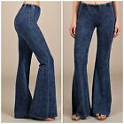 CHATOYANT Denim Blue Mineral Washed Bell Bottom Pants Pull On Knit S MADE IN USA