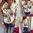NEW Women's Ladies Biker Celeb Camo Flower FLoral Print Zipper Up Bomber Jacket