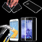 Ultra Slim Clear TPU Case Cover & Tempered Glass Screen Protector For HTC Phones