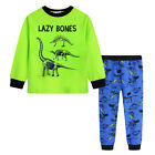 Pyjamas Boys Winter Long Cotton Knit Pjs (Sz 8-14) Set Green Lazy Bones (761) Sz