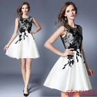 Womens Summer Sleeveless Lace Floral Bubble Dress A-line embroidery Floral Skirt